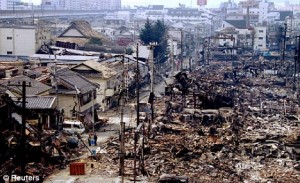 Japan earthquake and tsunami destruction