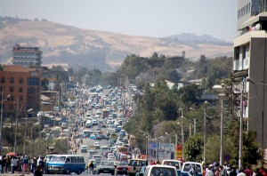A busy street in Addis Ababa, Ethiopia.