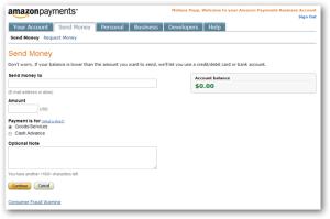Amazon Send Money Screen